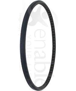 24 x 1 in. Urethane Pyramid Wheelchair Tire with Easier to Install Design - Angled view shown