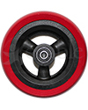 5 x 1.5 in. Shox® Hollow Spoke Wheelchair Caster Wheel - front view of red tire black hub shown