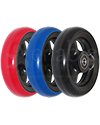 4 x 1 in. Shox® Hollow Spoke Wheelchair Caster Wheel - angled view shown of all three color options