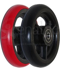 4 x 1 in. Three Spoke Wheelchair Caster Wheel - Angled view shown with both red and black tire