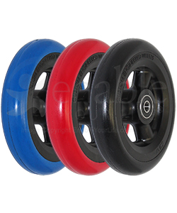 5 x 1 in. Shox® Hollow Spoke Wheelchair Caster Wheel - all three colors shown in angled view