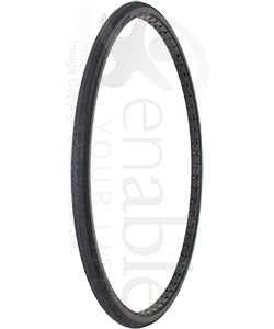 26 x 1 in. (590 mm) Shox Urethane Wheelchair Tire - Herringbone Tread - Angled view shown
