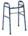 Mabis DMI Two-Button Release Aluminum Folding Walker - Blue