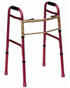 Mabis DMI Two-Button Release Aluminum Folding Walker - Pink