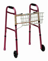 Mabis DMI Clip-On Walker Basket - mounted view