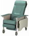 Invacare® 3-Position Deluxe Geriatric Recliner - Angled view shown in Jade