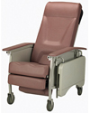 Invacare® 3-Position Deluxe Geriatric Recliner - Angled view shown in rosewood