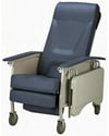 Invacare® 3-Position Deluxe Geriatric Recliner - Angled view shown in blueridge