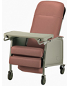 Invacare 3-Position Geriatric Recliner - Angled view of rosewood model shown