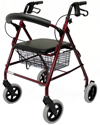 Karman 4 Wheel Roller Walker with 8 in. Wheels And Basket