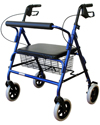 Karman Extra Wide Aluminum Bariatric Rollator with 400 lb Capacity - Shown in Metallic Blue