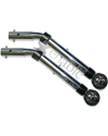 Wheelchair Anti-Tippers - Push Button, Roller Tips, Chrome Finish
