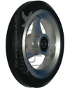 5 x 1 in. Aluminum Wheelchair Caster Wheel with Pyramid Tire - Angled view shown