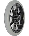 8 x 1 in. 8 Spoke Caster Wheel with Precision Bearings and 1 ½ in. Hub - Angled view shown with light gray rubber tire