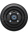 6 x 2 in. Wheelchair Caster Wheel with Black Urethane Tire - Front view shown