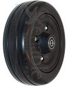 6 x 2 in. Wheelchair Caster Wheel with Black Urethane Tire - Angled view shown