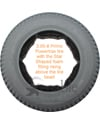 3.00-8 (14 x 3 in.) Primo Powertrax Foam Filled Wheelchair Tire - View showing the model with the star shaped foam rising above the tire bead