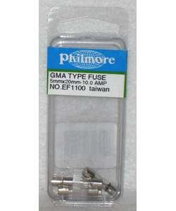 Glass Fuse - 10 AMP GMA Type 5mm X 20mm Pack of 5