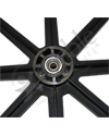 24 in. (540) 8 Spoke Wheelchair Mag Wheel with 2 in. Hub and Tire - Close-up showing recessed hub
