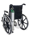 Wheelchair Mount Metal Oxygen E Cylinder Holder - Shown mounted to a wheelchair