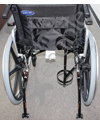 Universal Wheelchair D and E Cylinder Metal Oxygen Holder - Shown mounted to the Invacare Insignia Wheelchair