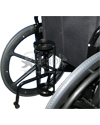 Universal Wheelchair D and E Cylinder Metal Oxygen Holder - Shown mounted to a manual wheelchair