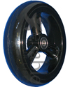 6 x 1 1/2 in. Frog Legs EPIC Soft Roll Composite Wheelchair Caster - black tire on black composite wheel shown