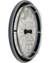 26 in. (590) Spinergy 30 Spoke Aluminum Wheelchair Wheel and Tire - Angled view shown with the Kenda Kourier pneumatic  tire