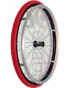 24 in. (540) Spinergy 30 Spoke Aluminum Wheelchair Wheel and Tire - Shown with red Shox urethane tire