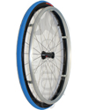 25 in. (559) Spinergy 30 Spoke Aluminum Wheelchair Wheel and Tire - Angled view shown with blue Primo Racer tire