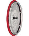 25 in. (559) Spinergy 30 Spoke Aluminum Wheelchair Wheel and Tire - Shown with Shox tire in red