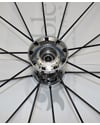 25 in. (559) Spinergy 18 Spoke Spox Wheelchair Wheel and Tire - Close up view of the hub shown