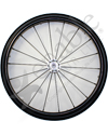 25 in. (559) Spinergy 18 Spoke Spox Wheelchair Wheel and Tire - Shown with shox tire and optional vinyl pushrim