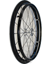 25 in. (559) Spinergy 18 Spoke Spox Wheelchair Wheel and Tire - Angled view shown with Shox tire and optional vinyl covered pushrim