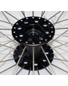 26 in. (590) Radial 36 Spoke Aluminum Wheelchair Wheel and Tire - Close-up view of the hub