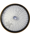 26 in. (590) Radial 36 Spoke Aluminum Wheelchair Wheel and Tire - Shown with yellow Primo V-Trak tire