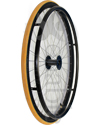 26 in. (590) Radial 36 Spoke Aluminum Wheelchair Wheel and Tire - Angled view shown with Yellow Primo V-Trak tire
