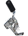 E&J Style Wheelchair Wheel Lock with Flat-Stock Bar Mount - Right side wheel lock shown