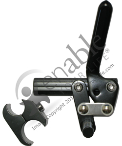 Black Aluminum Wheelchair Wheel Lock with Clamp - Right side shown