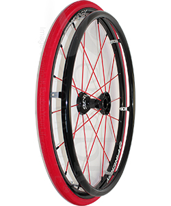 24 in. (540) Spinergy 18 Spoke Spox Wheelchair Wheel and Tire -  Shown with Red Shox tire and vinyl covered pushrim