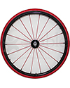 24 in. (540) Spinergy 18 Spoke Spox Wheelchair Wheel and Tire - Front view shown with red spokes and vinyl covered purshrim