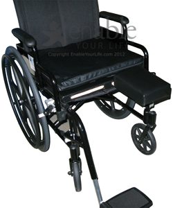 Aftermarket Group Wheelchair Flip Down Amputee Support - Shown on a manual wheelchair