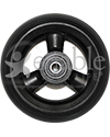 4 x 1 1/4 in. Three Spoke Wheelchair Caster Wheel with Low Profile Urethane Tire - Front view shown