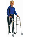 Carex® Single Button Walker with 5 in. Wheels and 300 lbs Capacity - Shown in use