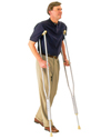 Carex� Adult Push Button Aluminum Crutches - in use