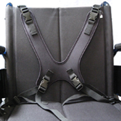 Therafin Butterfly Chest Harness shown mounted on a manual wheelchair