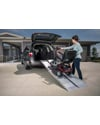EZ Access® SUITCASE® Singlefold Wheelchair or Scooter Ramp - Shown in use with a mini van (with optional top lip extension)