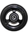 3 x 1 in. EPIC Aluminum Narrow Court Wheelchair Caster Wheel - Close-up of black hub with black tire