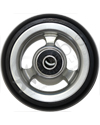 3 x 1 in. EPIC Aluminum Narrow Court Wheelchair Caster Wheel - Close-up of silver hub with black tire