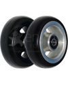 3 x 1 in. EPIC Aluminum Narrow Court Wheelchair Caster Wheel - Angled view of black and silver hubs